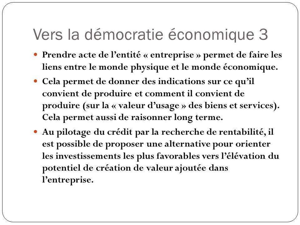 Vers la démocratie économique 3 Prendre acte de lentité « entreprise » permet de faire les liens entre le monde physique et le monde économique. Cela