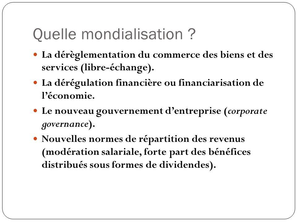 Quelle mondialisation ? La dérèglementation du commerce des biens et des services (libre-échange). La dérégulation financière ou financiarisation de l