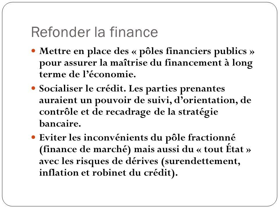 Refonder la finance Mettre en place des « pôles financiers publics » pour assurer la maîtrise du financement à long terme de léconomie. Socialiser le