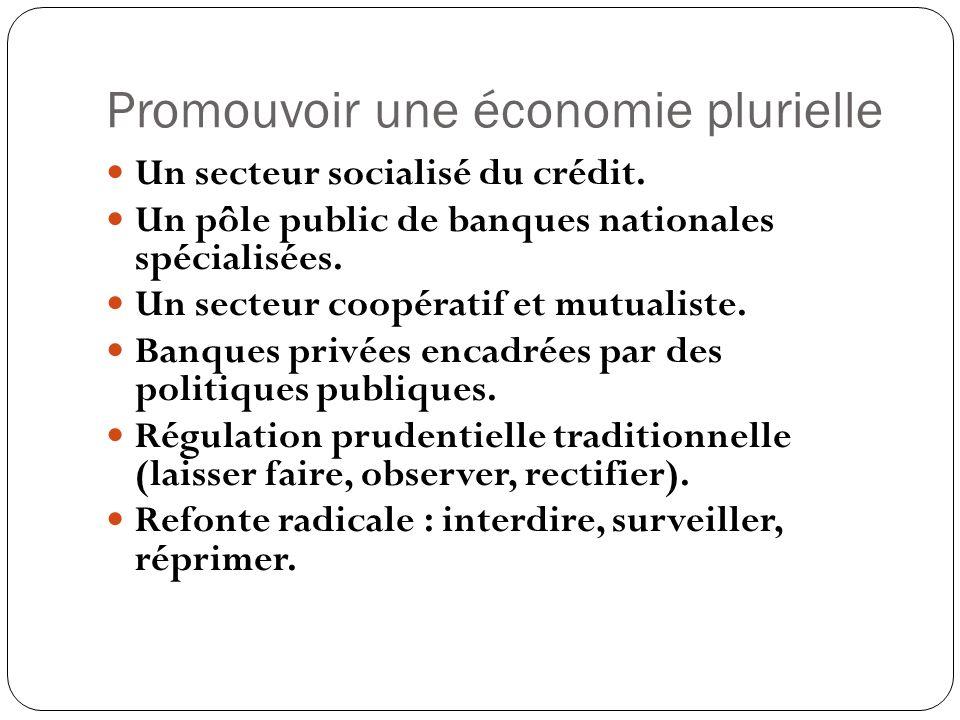 Promouvoir une économie plurielle Un secteur socialisé du crédit. Un pôle public de banques nationales spécialisées. Un secteur coopératif et mutualis