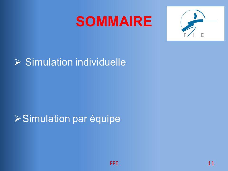 SOMMAIRE Simulation individuelle Simulation par équipe 11FFE