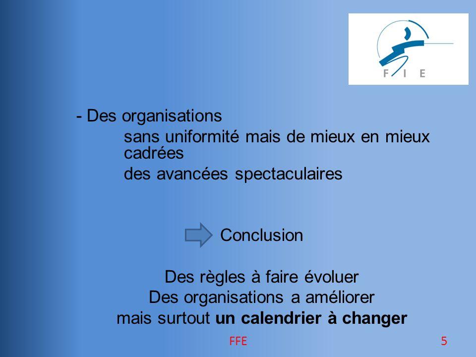 - Des organisations sans uniformité mais de mieux en mieux cadrées des avancées spectaculaires Conclusion Des règles à faire évoluer Des organisations a améliorer mais surtout un calendrier à changer 5FFE