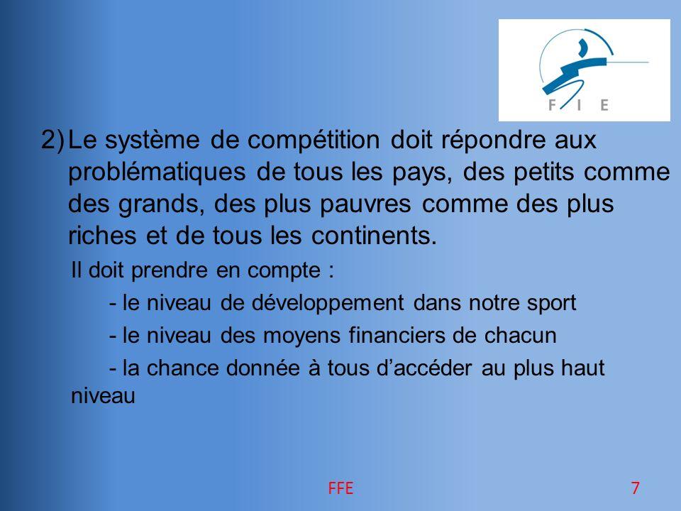 2)Le système de compétition doit répondre aux problématiques de tous les pays, des petits comme des grands, des plus pauvres comme des plus riches et de tous les continents.