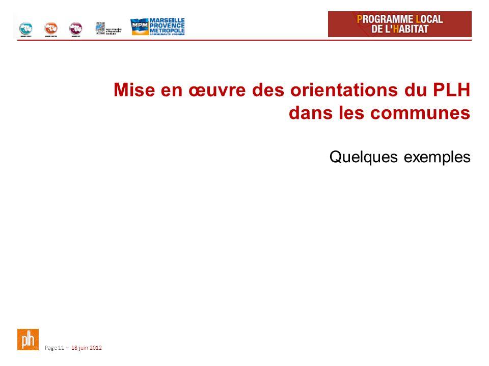 Page 11 – 18 juin 2012 Mise en œuvre des orientations du PLH dans les communes Quelques exemples