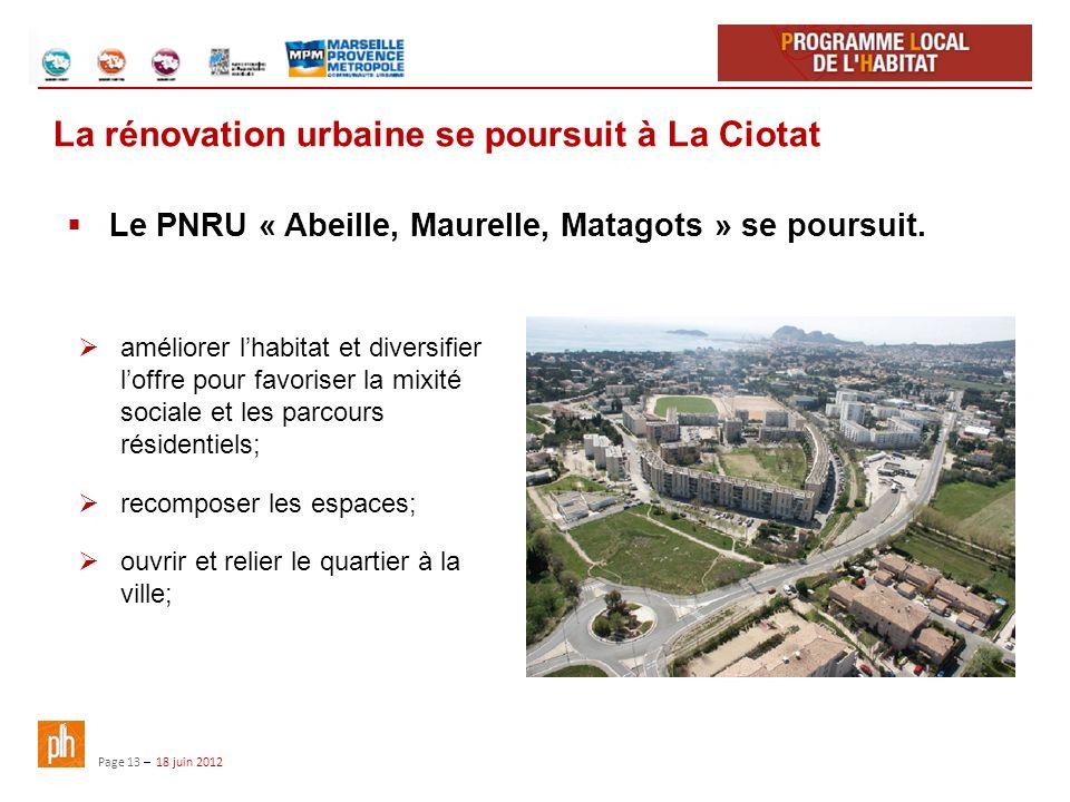 Page 13 – 18 juin 2012 La rénovation urbaine se poursuit à La Ciotat améliorer lhabitat et diversifier loffre pour favoriser la mixité sociale et les parcours résidentiels; recomposer les espaces; ouvrir et relier le quartier à la ville; Le PNRU « Abeille, Maurelle, Matagots » se poursuit.
