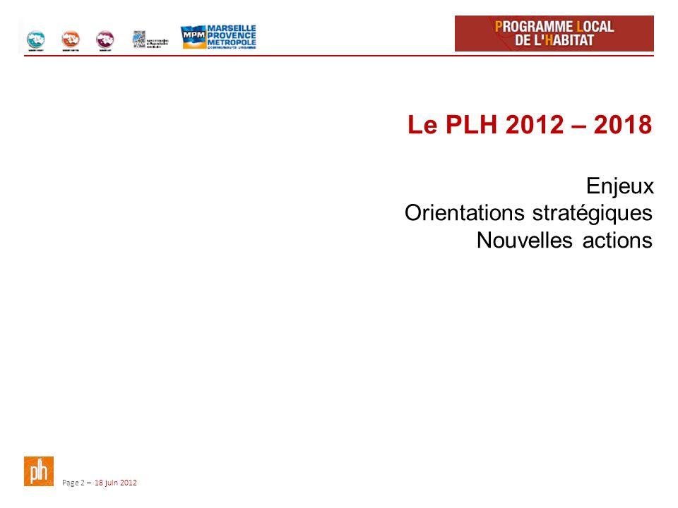 Page 2 – 18 juin 2012 Le PLH 2012 – 2018 Enjeux Orientations stratégiques Nouvelles actions