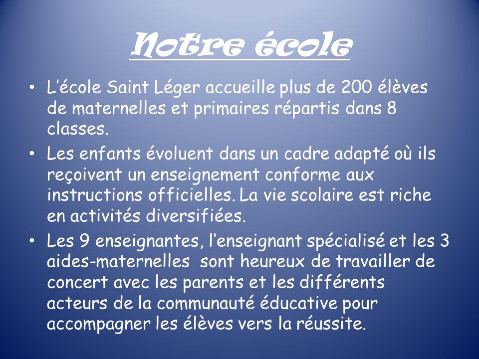 Notre école Lécole Saint Léger accueille plus de 200 élèves de maternelles et primaires répartis dans 8 classes. Les enfants évoluent dans un cadre ad