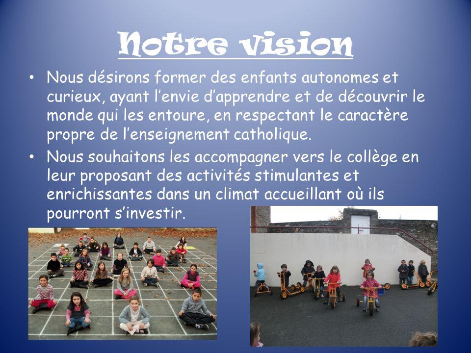 Notre vision Nous désirons former des enfants autonomes et curieux, ayant lenvie dapprendre et de découvrir le monde qui les entoure, en respectant le