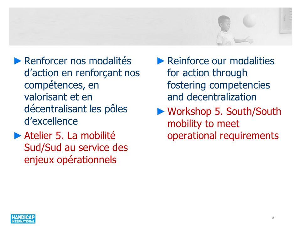 Renforcer nos modalités daction en renforçant nos compétences, en valorisant et en décentralisant les pôles dexcellence Atelier 5. La mobilité Sud/Sud