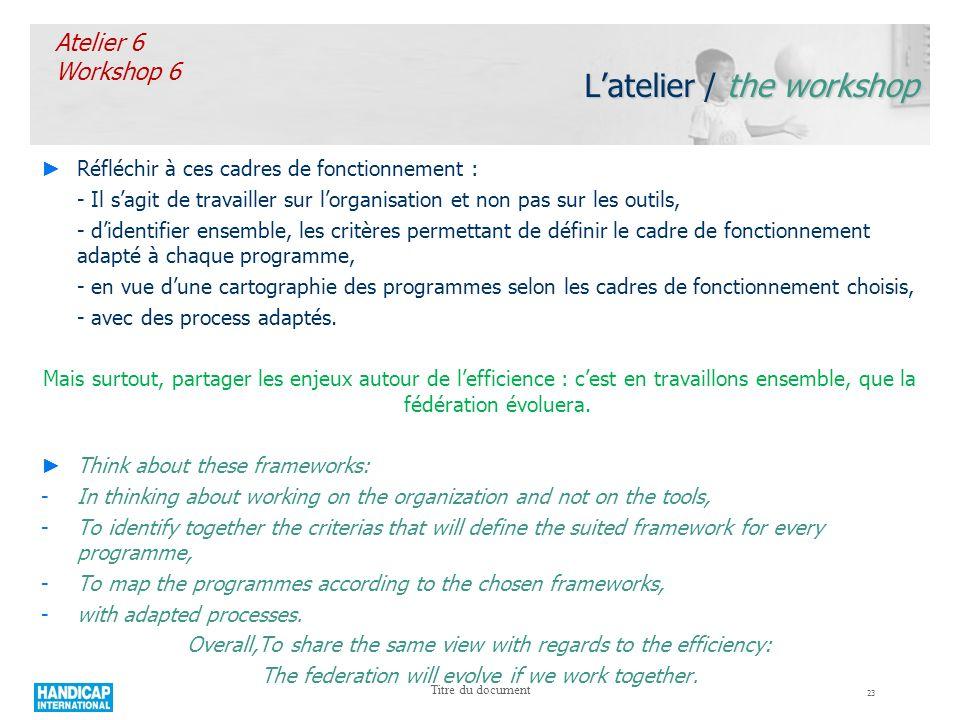 23 Titre du document Latelier / the workshop Réfléchir à ces cadres de fonctionnement : - Il sagit de travailler sur lorganisation et non pas sur les