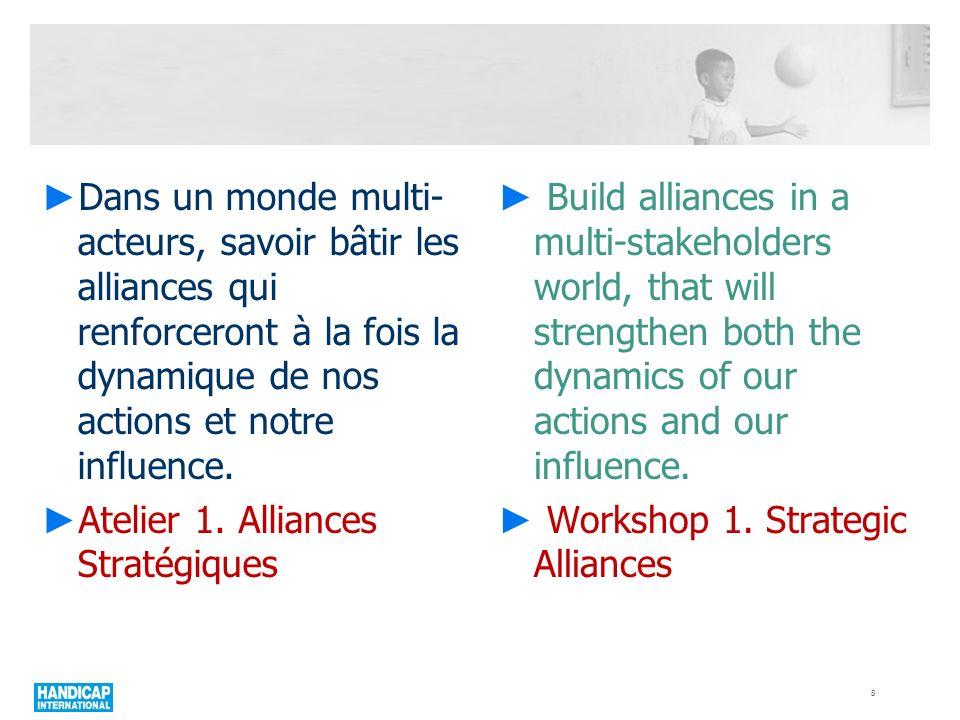 Dans un monde multi- acteurs, savoir bâtir les alliances qui renforceront à la fois la dynamique de nos actions et notre influence. Atelier 1. Allianc