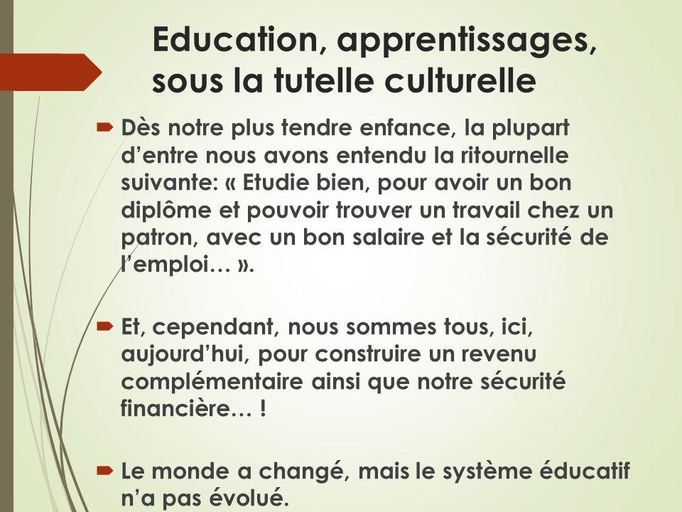 Education, apprentissages, sous la tutelle culturelle Dès notre plus tendre enfance, la plupart dentre nous avons entendu la ritournelle suivante: « E