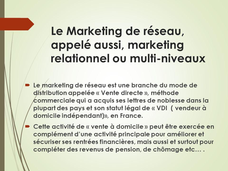 Le Marketing de réseau, appelé aussi, marketing relationnel ou multi-niveaux Le marketing de réseau est une branche du mode de distribution appelée «