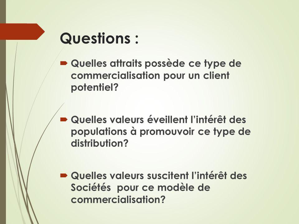 Questions : Quelles attraits possède ce type de commercialisation pour un client potentiel? Quelles valeurs éveillent lintérêt des populations à promo
