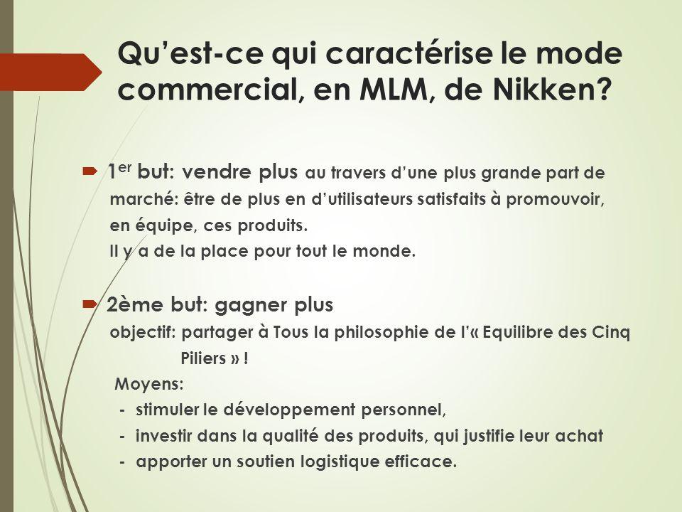 Quest-ce qui caractérise le mode commercial, en MLM, de Nikken? 1 er but: vendre plus au travers dune plus grande part de marché: être de plus en duti