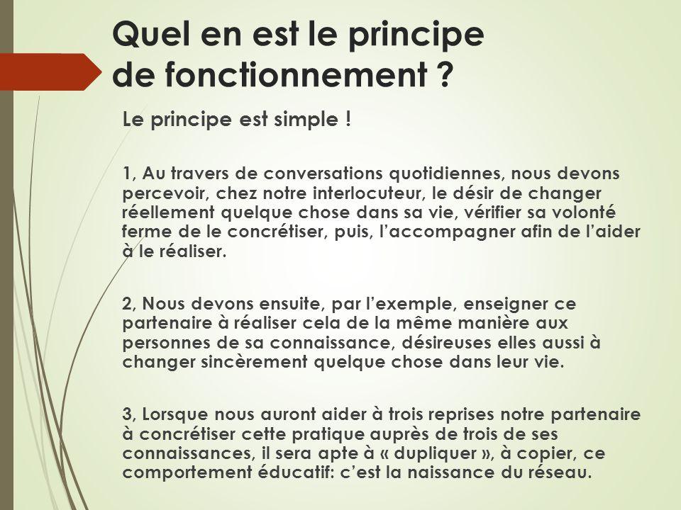 Quel en est le principe de fonctionnement ? Le principe est simple ! 1, Au travers de conversations quotidiennes, nous devons percevoir, chez notre in