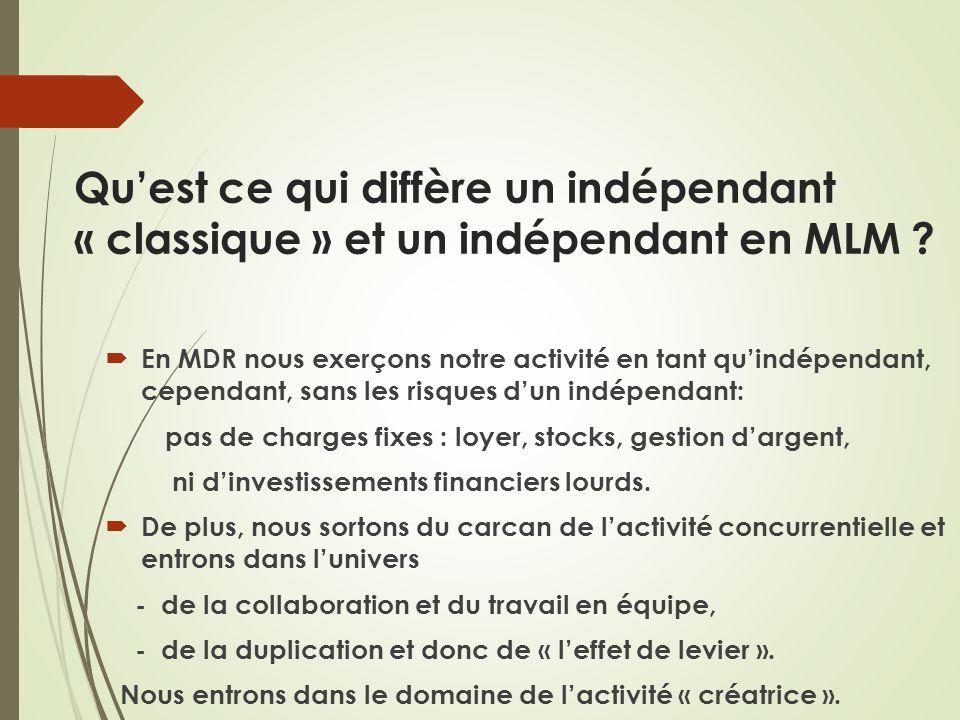 Quest ce qui diffère un indépendant « classique » et un indépendant en MLM ? En MDR nous exerçons notre activité en tant quindépendant, cependant, san