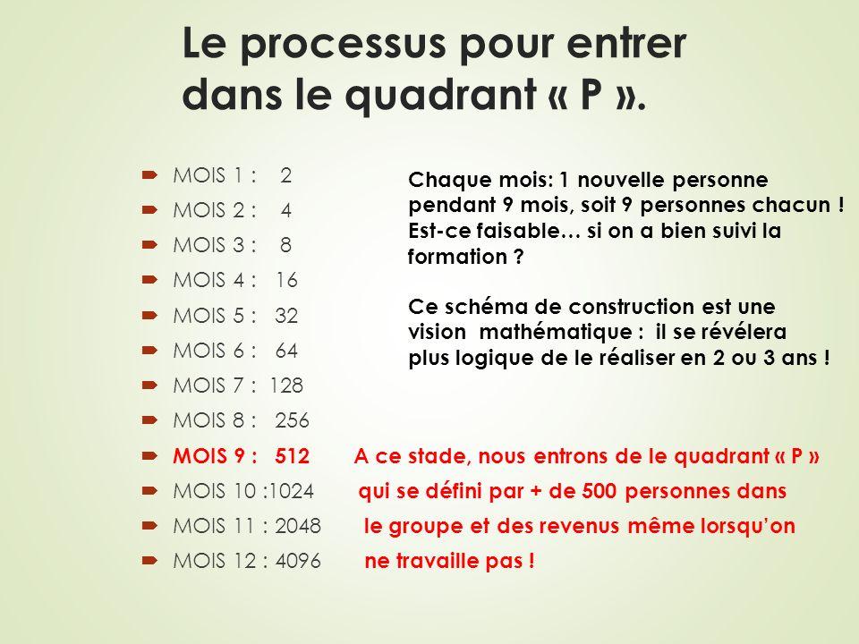 Le processus pour entrer dans le quadrant « P ». MOIS 1 : 2 MOIS 2 : 4 MOIS 3 : 8 MOIS 4 : 16 MOIS 5 : 32 MOIS 6 : 64 MOIS 7 : 128 MOIS 8 : 256 MOIS 9