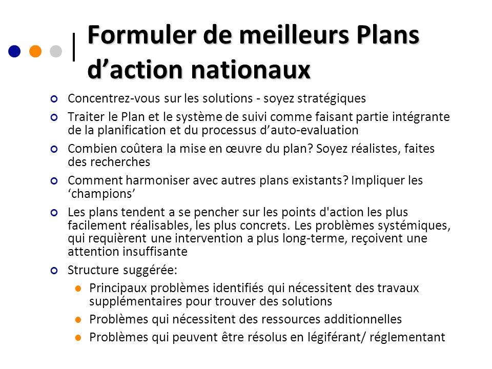 Formuler de meilleurs Plans daction nationaux Concentrez-vous sur les solutions - soyez stratégiques Traiter le Plan et le système de suivi comme faisant partie intégrante de la planification et du processus dauto-evaluation Combien coûtera la mise en œuvre du plan.