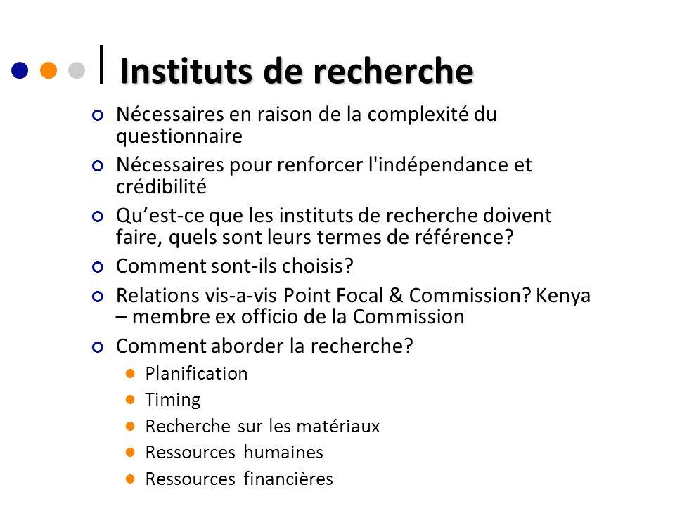 Instituts de recherche Nécessaires en raison de la complexité du questionnaire Nécessaires pour renforcer l indépendance et crédibilité Quest-ce que les instituts de recherche doivent faire, quels sont leurs termes de référence.
