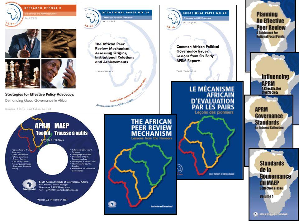 Aperçu du MAEP Aperçu du MAEP 2003 - volontaire, processus jouissante dune appropriation africaine, qui aspire à améliorer les processus de gouvernance et de développement, identifier les problèmes, améliorer/institutionnaliser les solutions L apprentissage par les pairs, par le dialogue, la pression des pairs, la diplomatie et la participation de la société civile afin de catalyser les réformes Mesure adhésion aux normes mondiales et africaines dans 4 domaines thématiques, y compris les droits de l homme, les élections, la séparation des pouvoirs, la corruption et la reddition des comptes, le climat des affaires, la gouvernance d entreprise, commerce, santé, logement, éducation, etc.