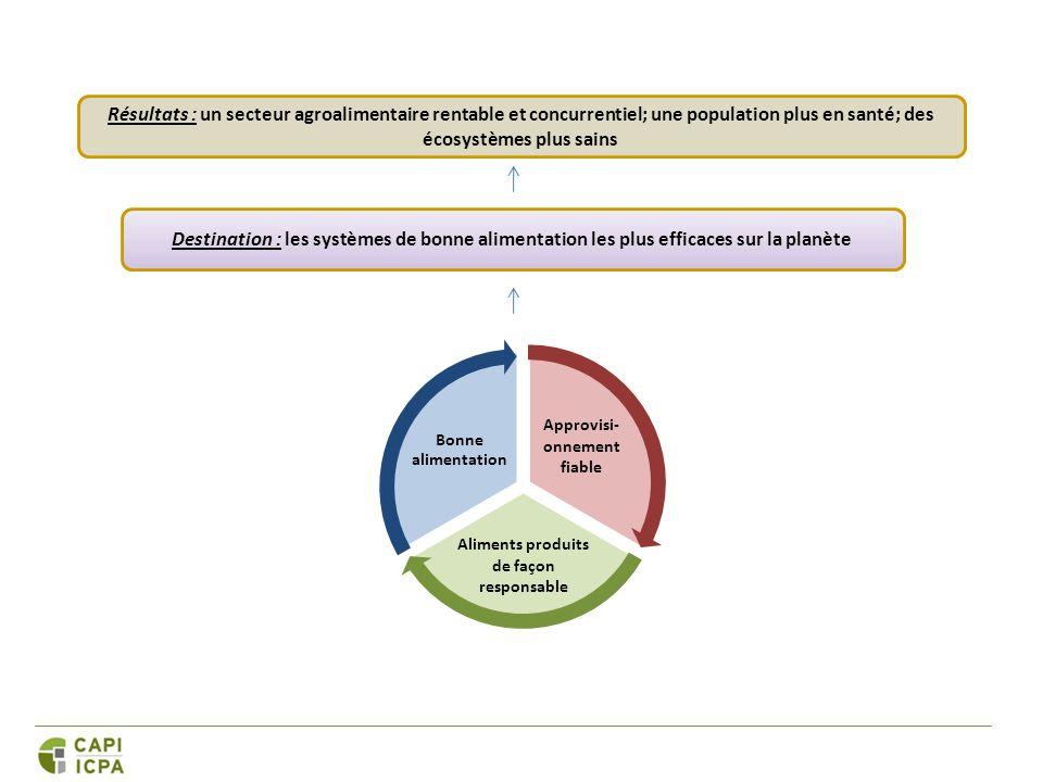 Approvisi- onnement fiable Aliments produits de façon responsable Bonne alimentation Destination : les systèmes de bonne alimentation les plus efficaces sur la planète Résultats : un secteur agroalimentaire rentable et concurrentiel; une population plus en santé; des écosystèmes plus sains