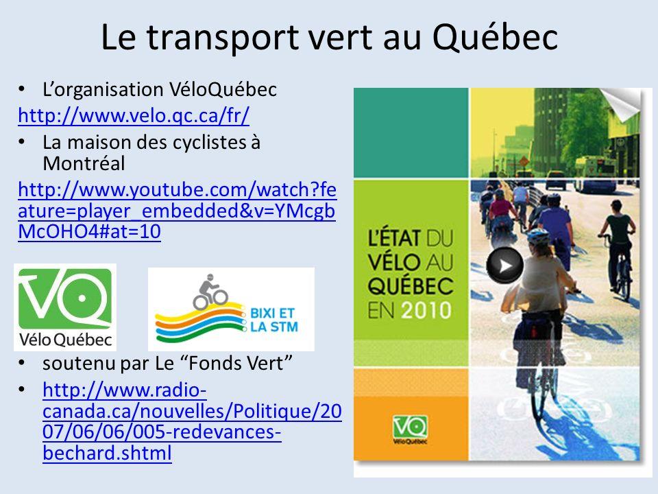 Le transport vert au Québec Lorganisation VéloQuébec http://www.velo.qc.ca/fr/ La maison des cyclistes à Montréal http://www.youtube.com/watch?fe atur