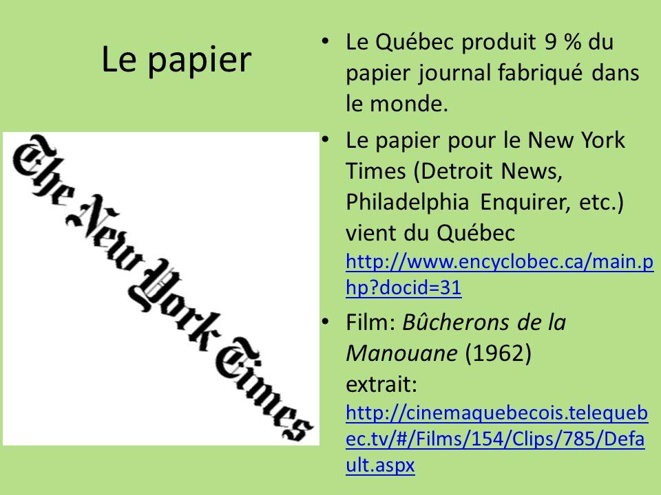 Le papier Le Québec produit 9 % du papier journal fabriqué dans le monde. Le papier pour le New York Times (Detroit News, Philadelphia Enquirer, etc.)