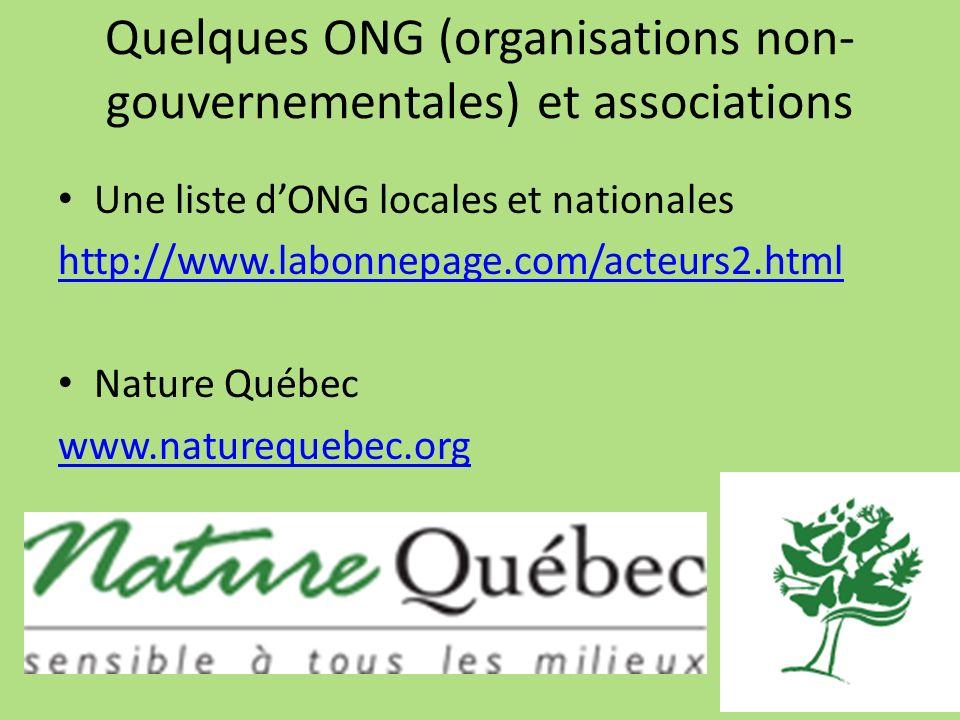 Quelques ONG (organisations non- gouvernementales) et associations Une liste dONG locales et nationales http://www.labonnepage.com/acteurs2.html Natur