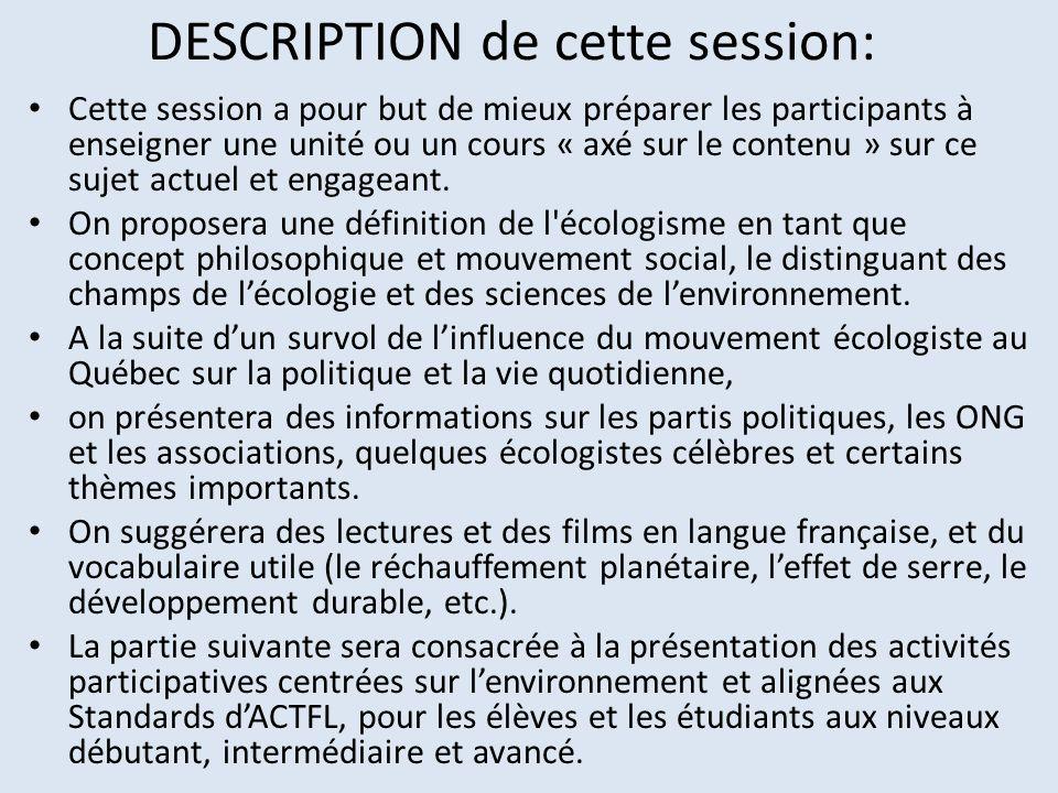 DESCRIPTION de cette session: Cette session a pour but de mieux préparer les participants à enseigner une unité ou un cours « axé sur le contenu » sur
