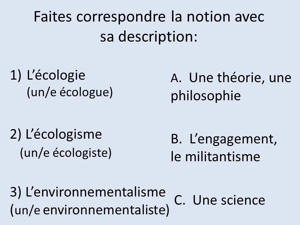 Faites correspondre la notion avec sa description: 1)Lécologie (un/e écologue) 2) Lécologisme (un/e écologiste) 3) Lenvironnementalisme ( un/e environ