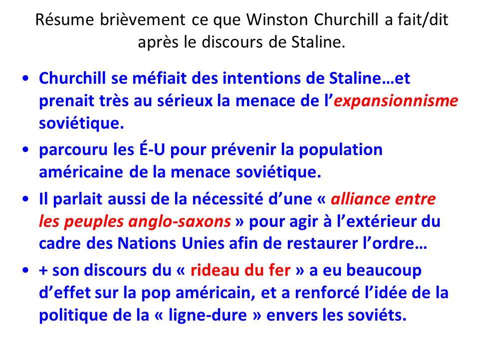 Résume brièvement ce que Winston Churchill a fait/dit après le discours de Staline. Churchill se méfiait des intentions de Staline…et prenait très au