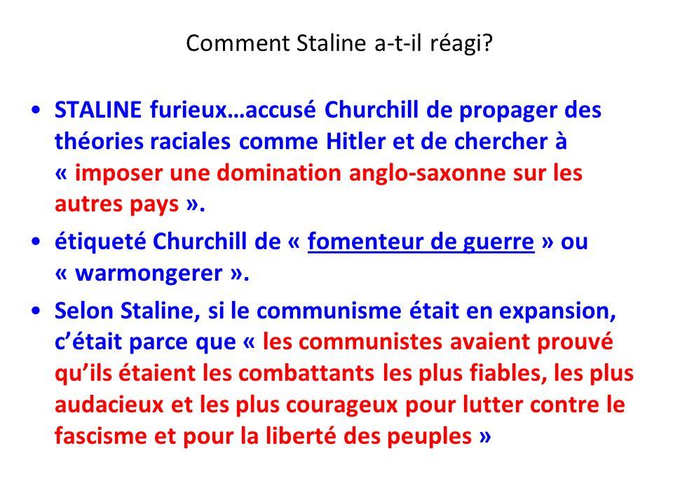 Comment Staline a-t-il réagi? STALINE furieux…accusé Churchill de propager des théories raciales comme Hitler et de chercher à « imposer une dominatio
