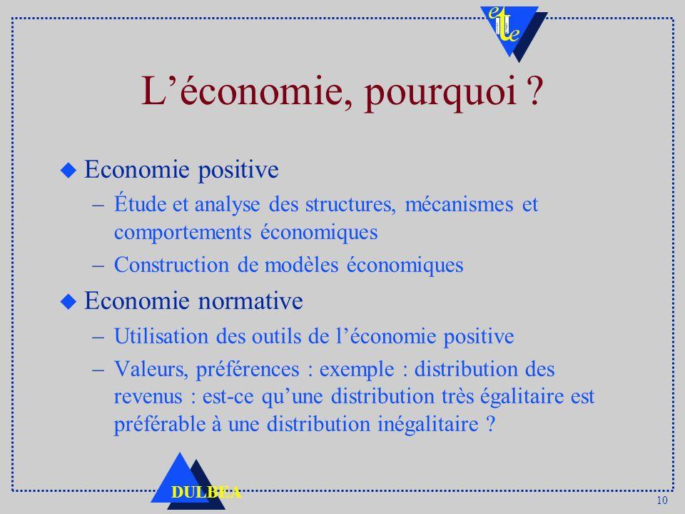 10 DULBEA Léconomie, pourquoi ? u Economie positive –Étude et analyse des structures, mécanismes et comportements économiques –Construction de modèles
