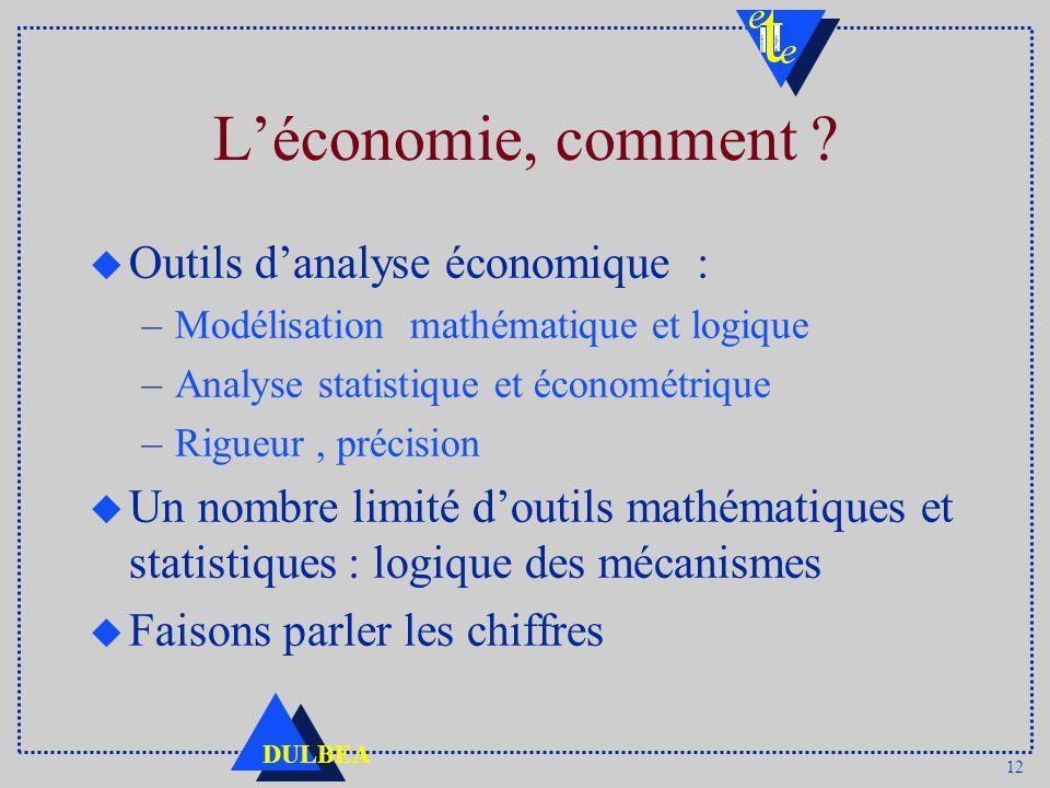 12 DULBEA Léconomie, comment ? u Outils danalyse économique : –Modélisation mathématique et logique –Analyse statistique et économétrique –Rigueur, pr