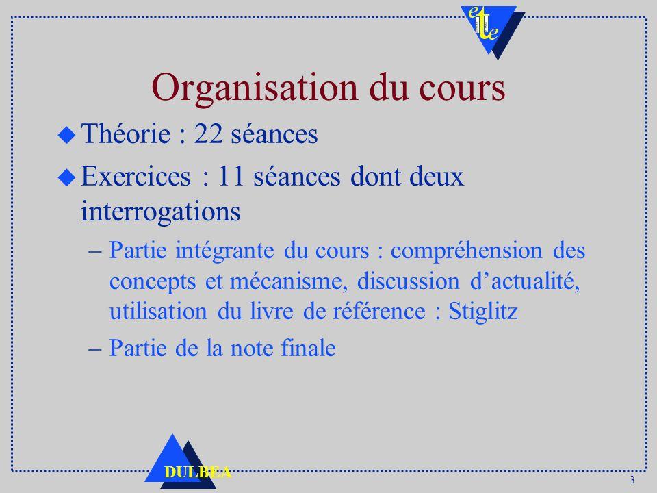 3 DULBEA Organisation du cours u Théorie : 22 séances u Exercices : 11 séances dont deux interrogations –Partie intégrante du cours : compréhension de