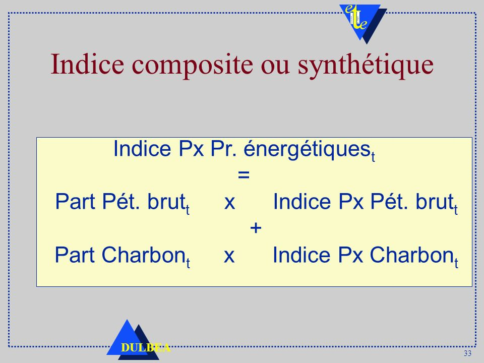 33 DULBEA Indice composite ou synthétique Indice Px Pr. énergétiques t = Part Pét. brut t x Indice Px Pét. brut t + Part Charbon t x Indice Px Charbon