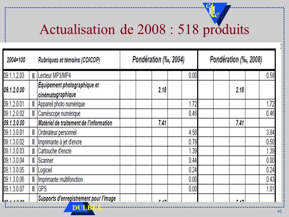 40 DULBEA Actualisation de 2008 : 518 produits