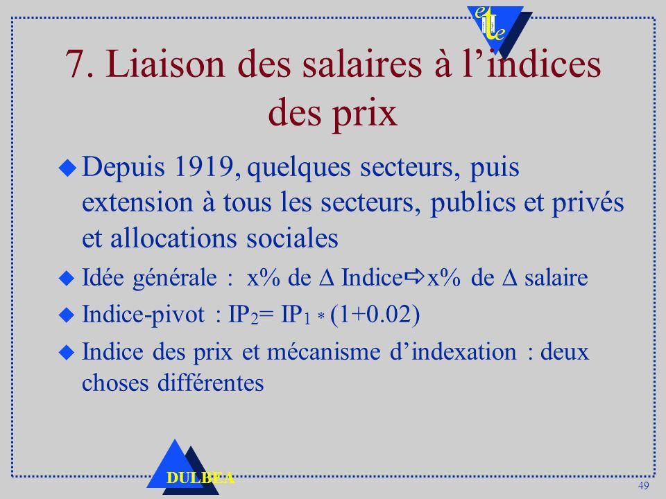 49 DULBEA 7. Liaison des salaires à lindices des prix u Depuis 1919, quelques secteurs, puis extension à tous les secteurs, publics et privés et alloc