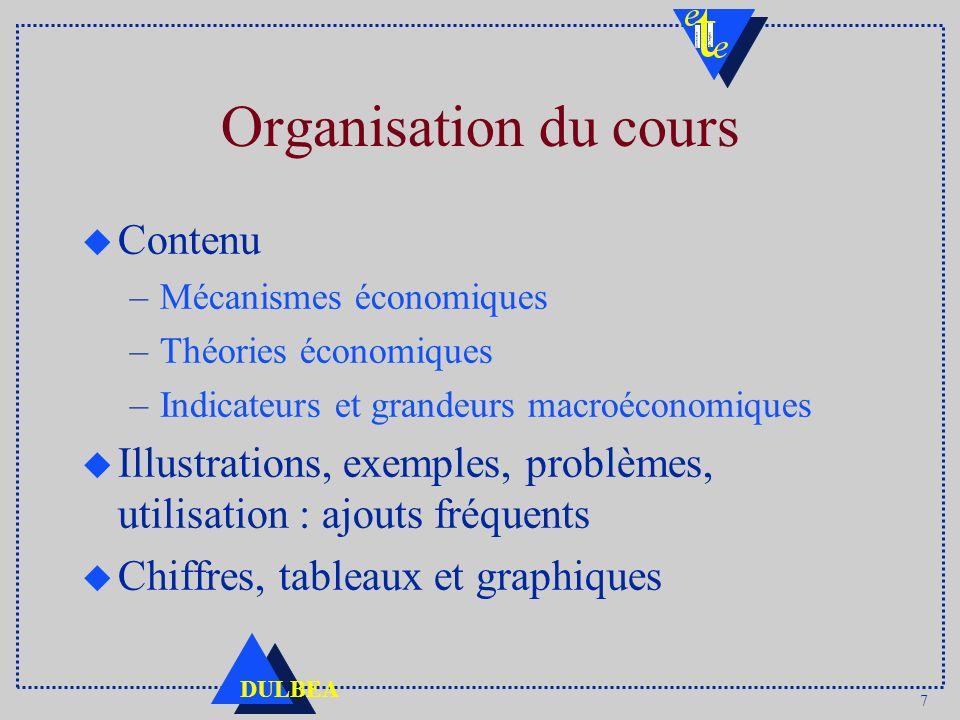 7 DULBEA Organisation du cours u Contenu –Mécanismes économiques –Théories économiques –Indicateurs et grandeurs macroéconomiques u Illustrations, exe