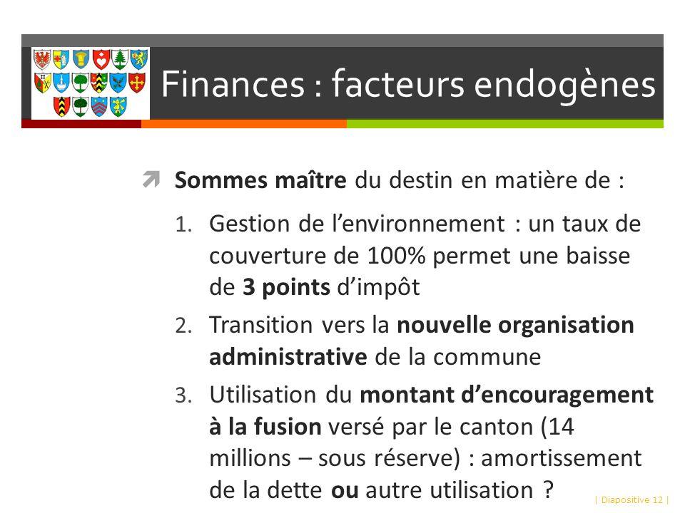 Finances : facteurs endogènes Sommes maître du destin en matière de : 1.