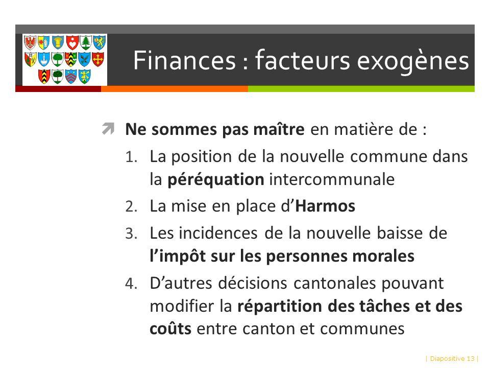 Finances : facteurs exogènes Ne sommes pas maître en matière de : 1.