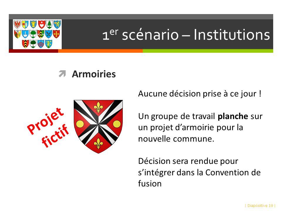 1 er scénario – Institutions Armoiries | Diapositive 19 | Projet fictif Aucune décision prise à ce jour .