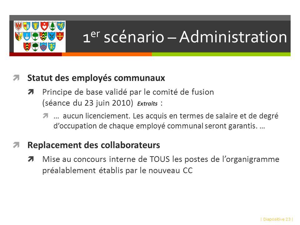 1 er scénario – Administration Statut des employés communaux Principe de base validé par le comité de fusion (séance du 23 juin 2010) Extraits : … aucun licenciement.