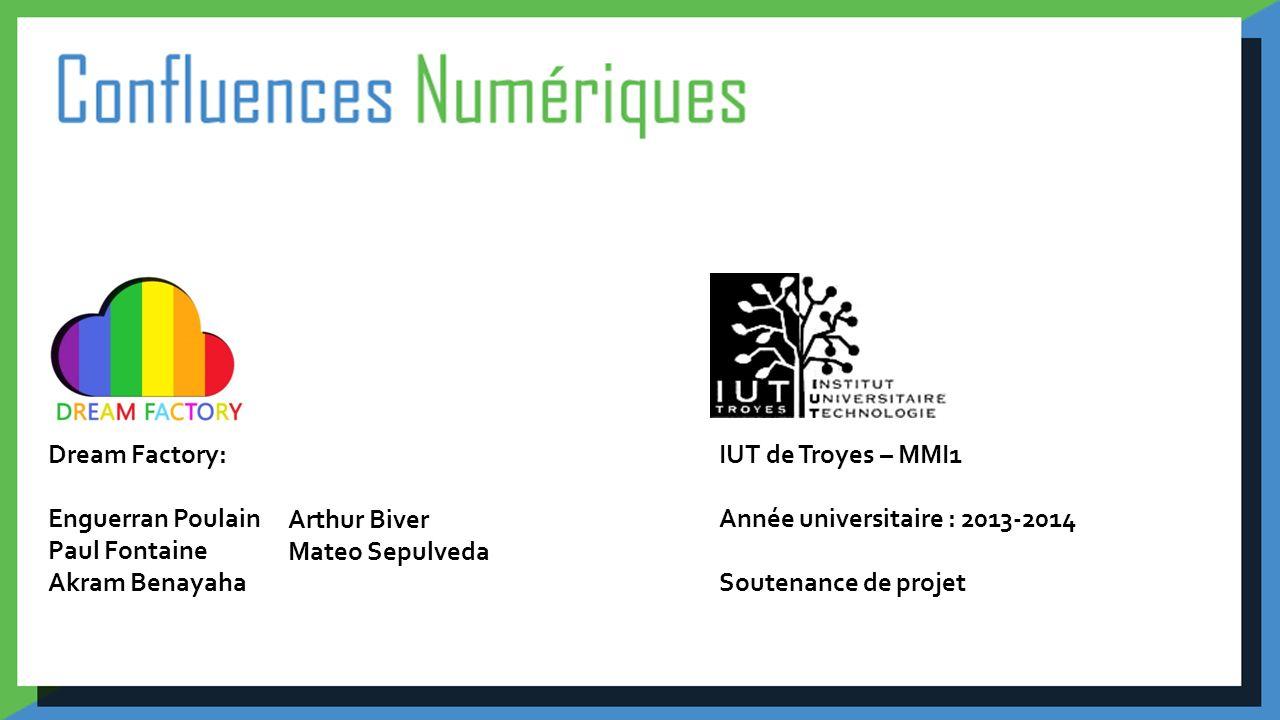 IUT de Troyes – MMI1 Année universitaire : 2013-2014 Soutenance de projet Dream Factory: Enguerran Poulain Paul Fontaine Akram Benayaha Arthur Biver M