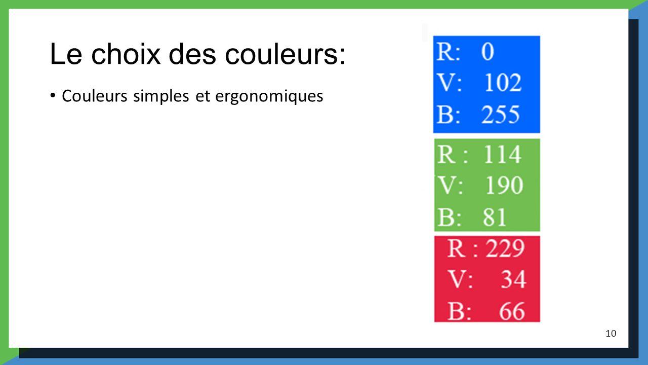 Le choix des couleurs: Couleurs simples et ergonomiques 10