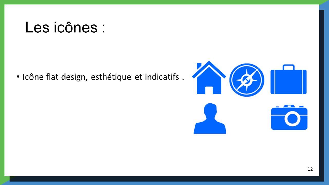 Les icônes : Icône flat design, esthétique et indicatifs. 12