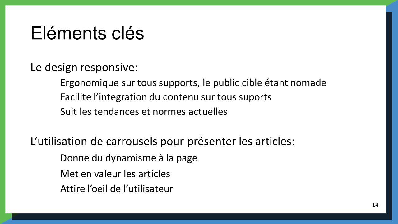 Eléments clés Le design responsive: Ergonomique sur tous supports, le public cible étant nomade Facilite lintegration du contenu sur tous suports Suit
