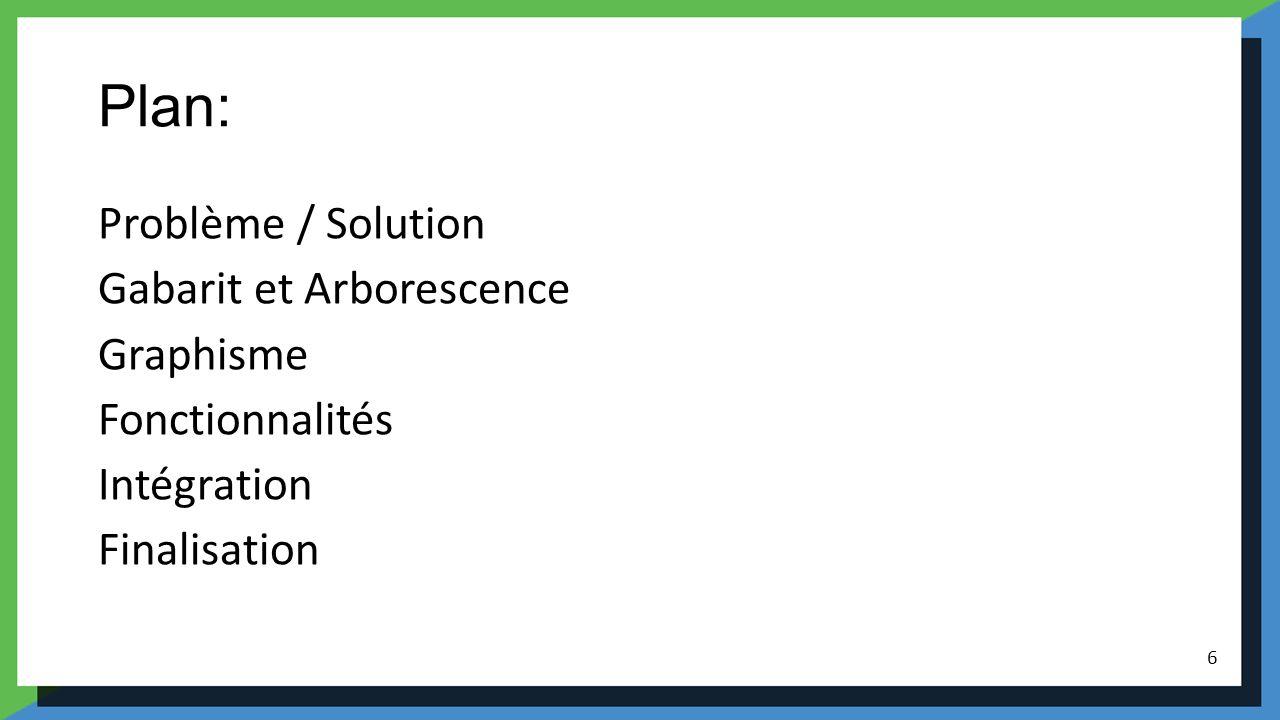 Plan: Problème / Solution Gabarit et Arborescence Graphisme Fonctionnalités Intégration Finalisation 6