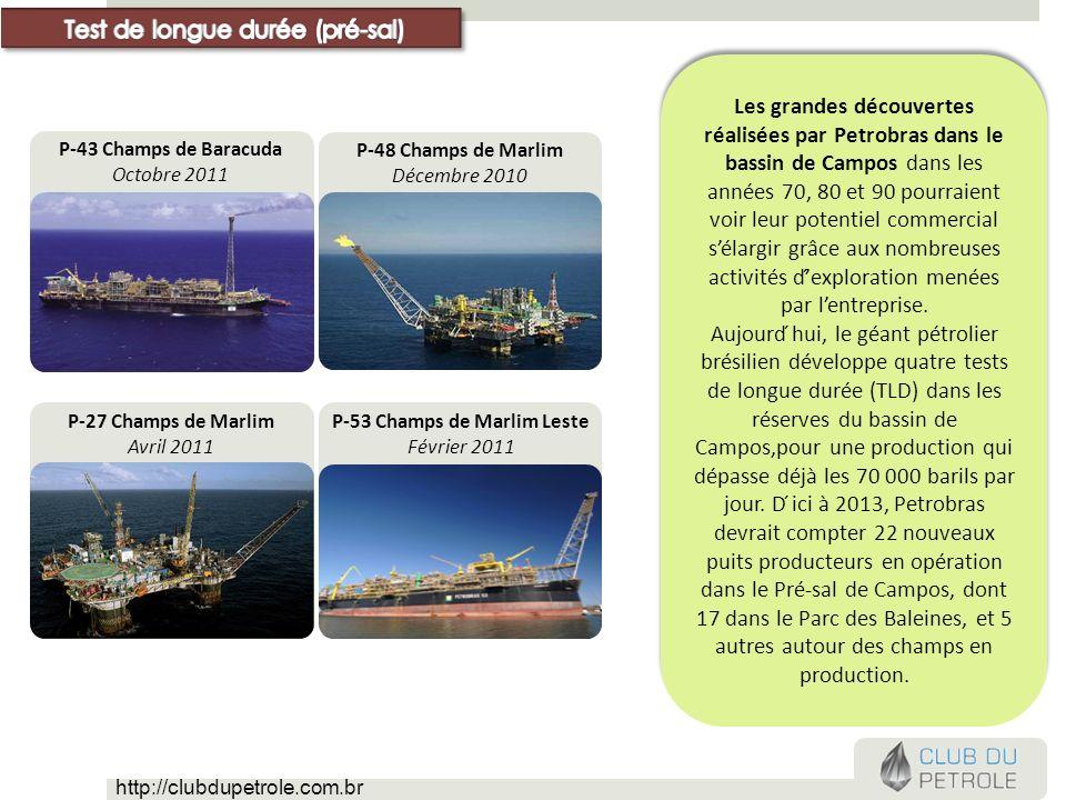 P-53 Champs de Marlim Leste Février 2011 P-27 Champs de Marlim Avril 2011 P-48 Champs de Marlim Décembre 2010 P-43 Champs de Baracuda Octobre 2011 Les